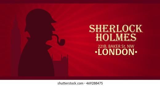 Sherlock Holmes poster. Baker street 221B. London. Big Ben