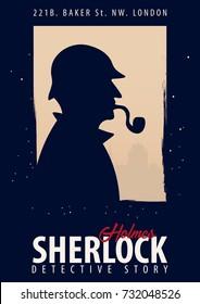 Sherlock Holmes poster. Detective illustration.