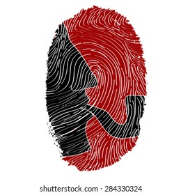 sherlock holmes silhouette in bloody fingerprint - vector illustration. Grunge textured fingerprint as background, man face profile with pipe. Visual concept of mystery, justice, mind, hero.