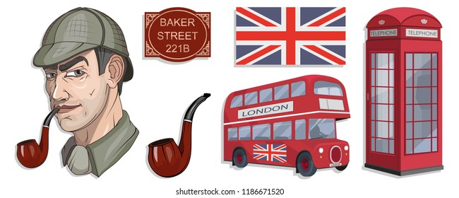 Sherlock Holmes vector, London, ilustration with Sherlock Holmes, Baker street 221B, Sherlock Holmes hat, famous London private detective, detective with smoking pipe, London style, cartoon detective