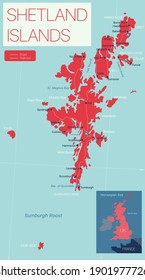 Shetland islands detailed editable map with regions cities and towns, roads and railways, geographic sites. Vector EPS-10 file