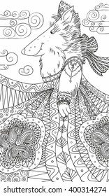 She-wolf in a sundress and a kokoshnik on the background of the cloudy sky