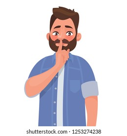 Shh! Gesture is quieter. The concept of male secret. A man asks for silence. Vector illustration in cartoon style.