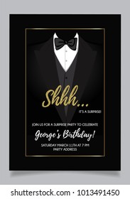 Shh... surprise party invitation card, vector design with black background and golden glitter elements.
