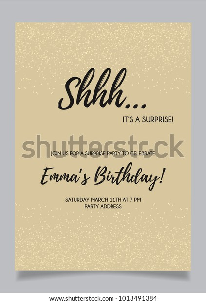Shh Surprise Party Invitation Card Vector Stock Vector