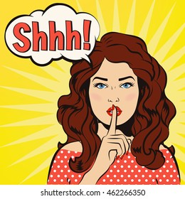 Shh woman. Woman says Shh! The girl asks for silence. It's a secret! Woman putting her forefinger to her lips for quite silence. Pop art comics style. Vector illustration. Girl says shhh.