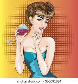 Shhh pop art sexy woman face with finger on her lips and glass of wine. Pin-Up Silence Gesture hand drawn vector illustration background