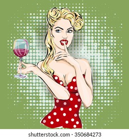 Shhh pop art woman face with finger on her lips and glass of wine. Silence Gesture hand drawn vector illustration background