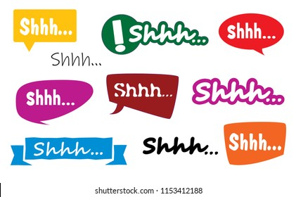 Shhh silence icon signs Vector eps signs comic speech bubble please be quiet silent or silence stop no talking fun funny color colour quiet text no sound off flat icon Caution