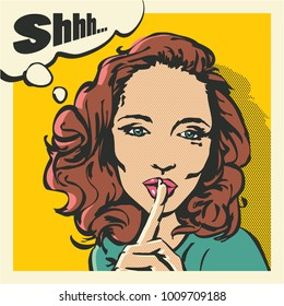 Shhh woman, woman with finger on lips, silence gesture, pop art style woman banner, shut up