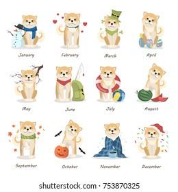 Shiba inu calendar with all months. Funny cartoon dog.