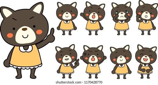 Shiba Inu child's emotional expression set