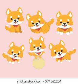 Shiba Inu Dog Cartoon Set Vector.