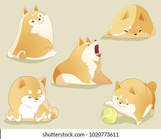 shiba inu dog character and emotion set