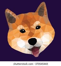 Shiba inu dog face polygon, Vector