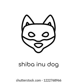 Shiba Inu dog icon. Trendy modern flat linear vector Shiba Inu dog icon on white background from thin line dogs collection, editable outline stroke vector illustration