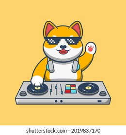 Shiba Inu Dog Playing DJ Electronic Music Mixer With Headphone Vector Icon Illustration. Animal Music Icon Themed Illustration. Good for a mascot, icon,  emoticons, sticker.