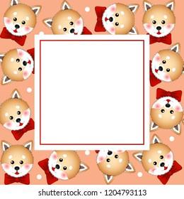 Shiba Inu Dog with Red Ribbon. on White Polka dot Orange Banner Card. Vector Illustration.