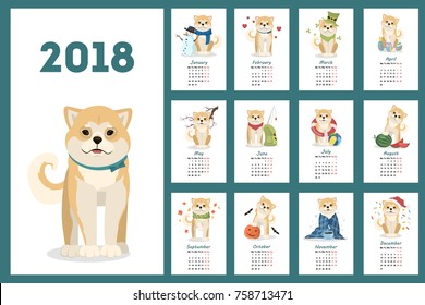 Shiba Inu dogs calendar set with different illustrations.