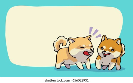 Shiba inu happy time, vector illustration