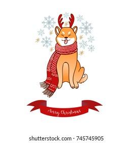 Shiba Inu horn deer winter holidays, happy new year