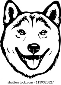 Shiba Inu Lap dog breed face head isolated animal domestic pet canine puppy purebred pedigree hound portrait peeking paws smiling smile happy art artwork illustration design set collection cute pup