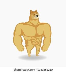 Shiba Inu meme dog, original vector illustration, Facebook meme dog cartoon