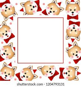 Shiba Inu Santa Claus Dog with Red Ribbon. on Pink Polka dot White Banner Card. Vector Illustration.