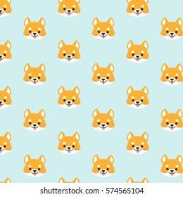 Shiba inu seamless pattern.