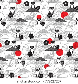 Shiba Inu seamless pattern in japanese style. Image with funny hand drawn dogs. Animals vector illustration with adorable pets. Tillable background for your fabric, textile design, wrapping paper