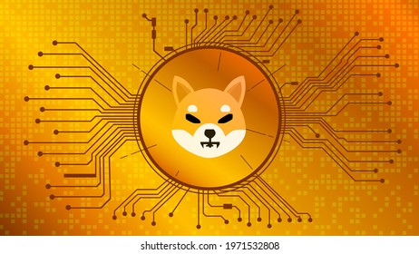 Shiba Inu SHIB cryptocurrency token symbol of the DeFi project in circle with PCB tracks on gold background. Currency icon. Decentralized finance programs. Vector EPS10.