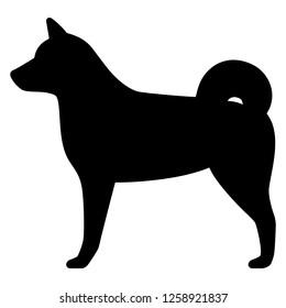 Shiba Inu's whole body silhouette icon