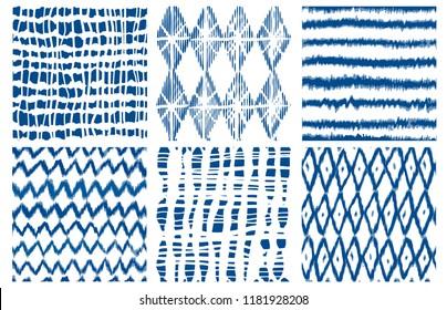 Shibori dye tie geo vector seamless patterns indigo