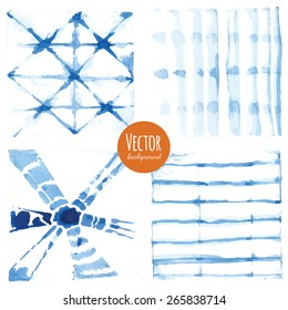 Shibori indigo dyed watercolor backgrounds in vector