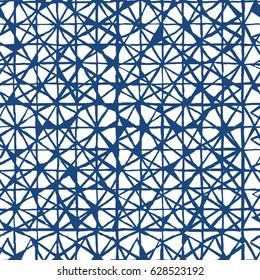 Shibori indigo geometrical print. Japanese seamless pattern