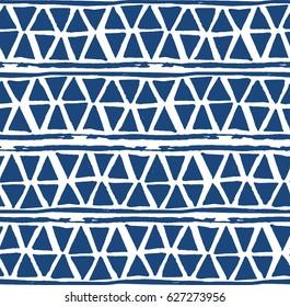 Shibori indigo triangles print. Geometrical japanese seamless pattern