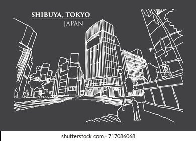 Shibuya crossing Junction, TOKYO, JAPAN in Ink Line Art, Vector illustration.