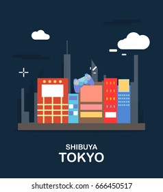 Shibuya tokyo tourist attraction in the night Japan illustration design