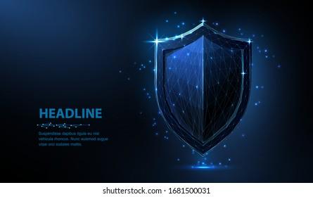 Schild. Abstrakter 3D-Schild der Vektorillustration einzeln auf Blau. Datenschutz, Geschäftssicherheit, Systemsicherheit, Web-Secure-Konzept. Antivirus-Bildschirm, Versicherungs-Garantie, Netzwerk-Firewall-Symbol