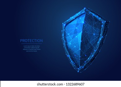 Shield. Abstract wireframe vector illustration on dark blue. Protect and Security of Safe concept. Low poly starry sky digital 3d modern image or background. Polygonal knight sign.