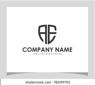Shield AE initial icon letter logo vector eps 10