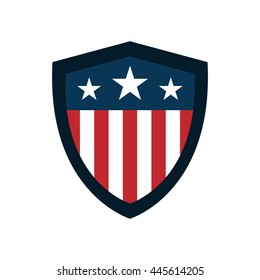 Shield with American Flag Badge, Independence Day Concept, Flat designed Vector Illustration,