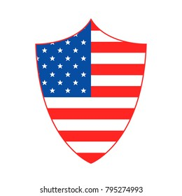 Shield in American flag style. Vector illustration. Shield in a national colors of USA