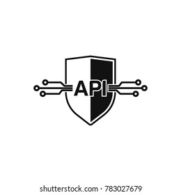 Shield api interface icon, vector illustration. Flat design style.