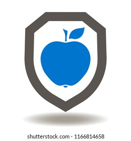 Shield with apple icon vector. Safety Food Illustration. Natural Healthy Eat Sign. Protection fruits logo. Insurance Health Symbol.