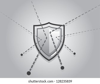 Shield blocking bullets with trail lines