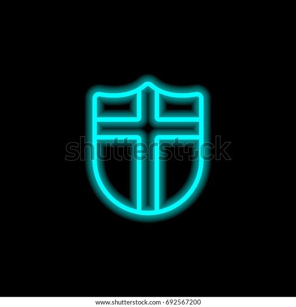 Shield blue glowing neon ui ux icon. Glowing sign logo vector