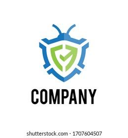 Shield + bug. Modern minimalist pest control logo icon vector. Eps10.