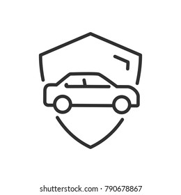 Shield and car. Insurance. linear icon. Line with Editable stroke