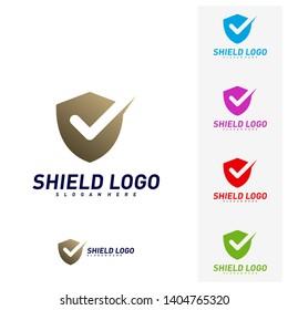 Shield Check Logo Design Concept Vector. Shield quality vector illustration Design. Icon Symbol